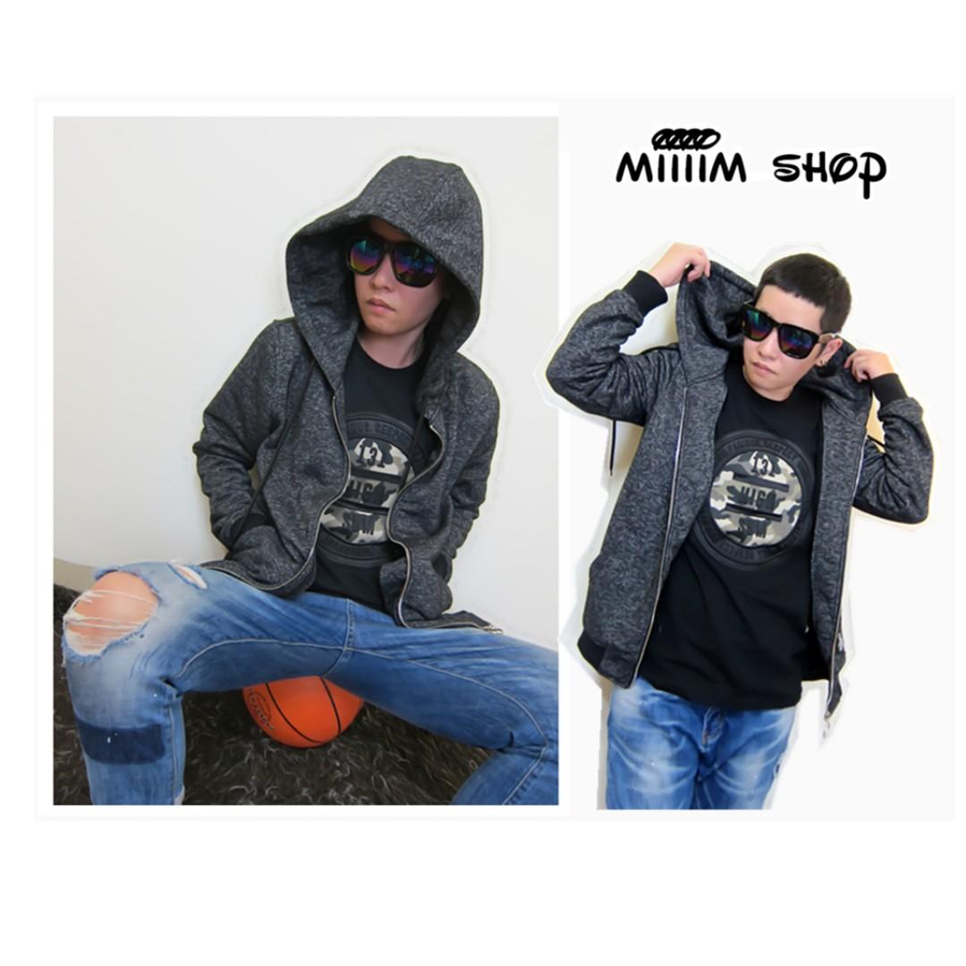 (M-XL)情侶款大尺碼中性個性雪花連帽長袖刷毛外套