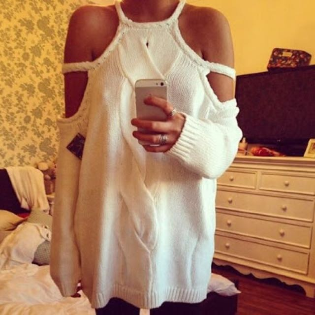 """NASTY GAL """"Snowfall"""" White Chunky Cable Knit Jumper/Sweater"""