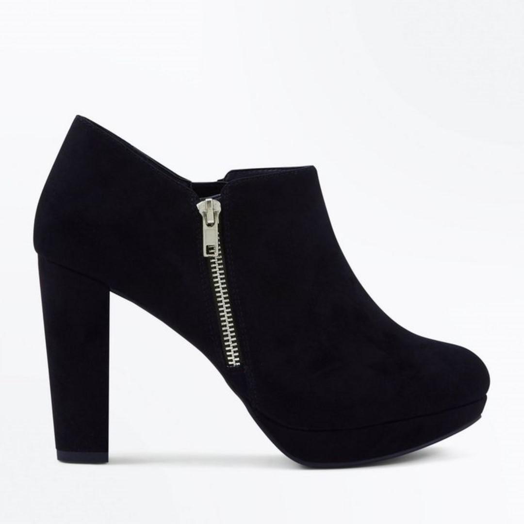 bd9515c600 NEW LOOK Wide Fit Black Comfort Flex Suedette Zip Shoe Boots UK6 39 ...