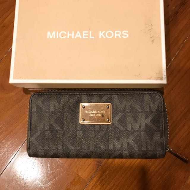 NEW PRICE!!! Michael Kors Jet set zip around wallet (Brown) Authentic 💯%