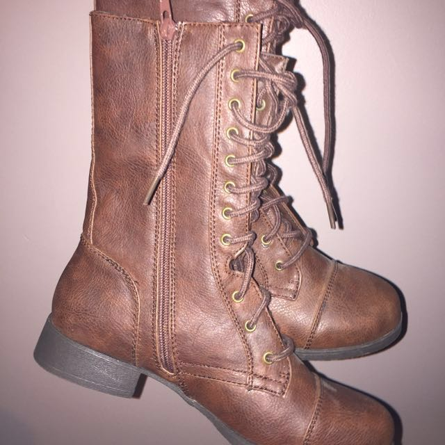 NEW Tall Brown Leather Combat Boots Size 7.5
