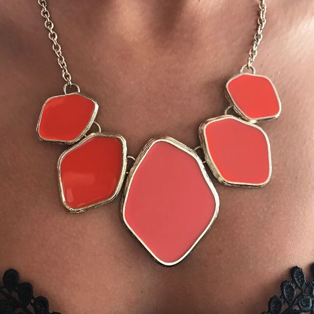 Orange Equip Statement Necklace
