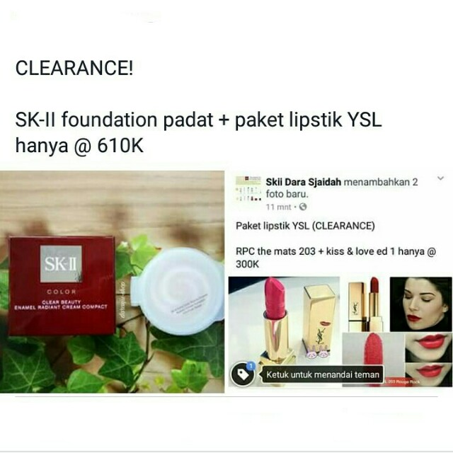 Paket Lipstik YSL - SKII / SK2 enamel radiant cream compact foundation padat - RPC rouge pur couture the mats - kiss and love