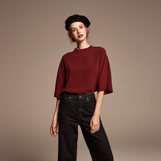 f5f88f2a98187 Pending) Uniqlo Drape Mock Neck 3 4 Sleeve Top in Wine
