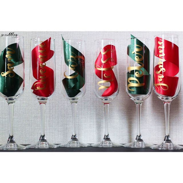 Personalised Winechampagne Glasses Wedding Gift Home Appliances
