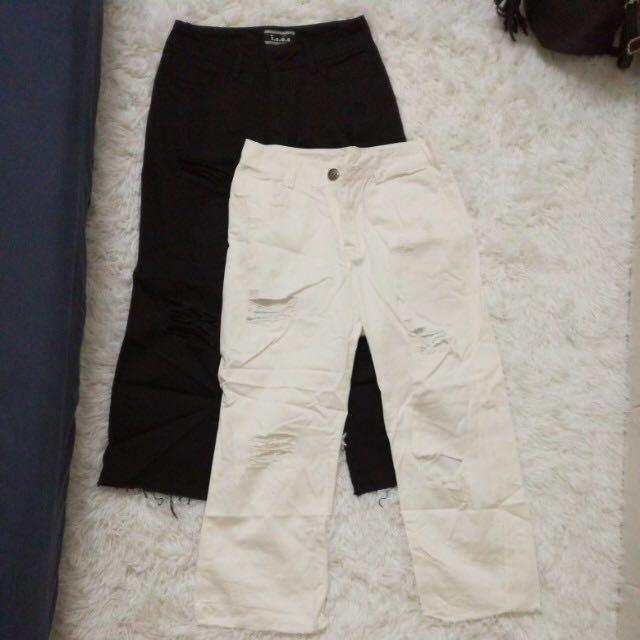 [PL] Black & White High Waist Ripped Jeans