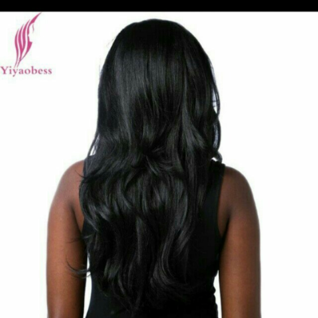Pure black 24 inches wavy wig