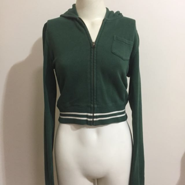 Ralph Lauren Zip Crop Jumper Hoodie Green