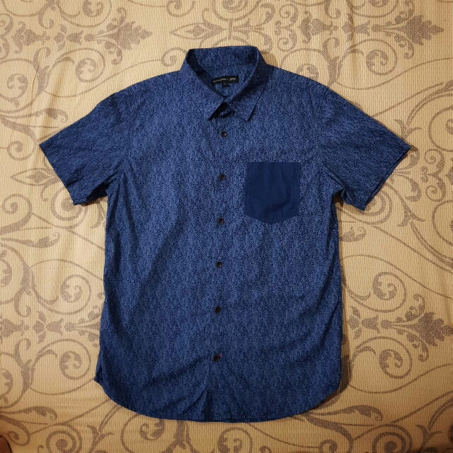 Salt n Pepper Blue Printed S/S Shirt