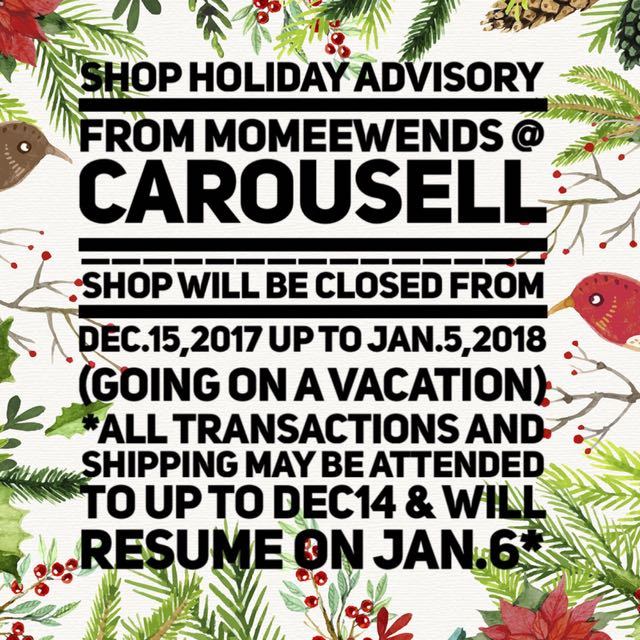 Shop Closure for the Holidays