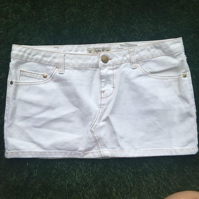 Sicko White Denim Skirt