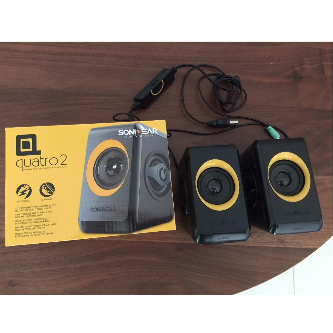 Sonicgear Quatro2 Micro Speakers 20 Usb Powered Electronics Audio Sonic Gear Speaker Quatro 2 On Carousell