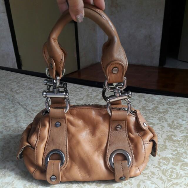 STEVEN BY STEVE MADDEN Genuine Leather Baguette Bag