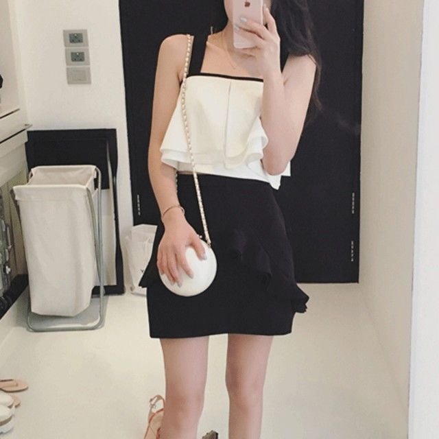 Straps Layered Top With Short Skirt