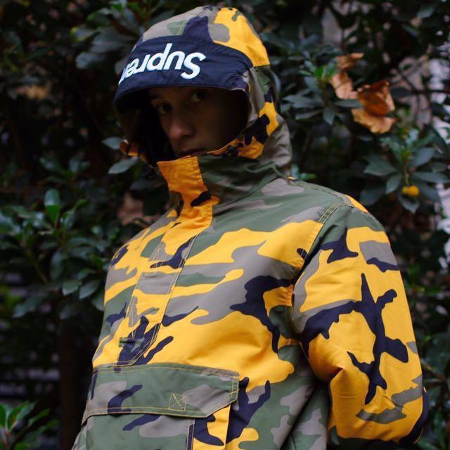 Supreme Hooded Logo Half Zip Pullover Yellow Camo 770ec8633