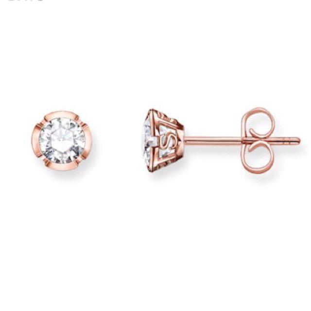 Thomas Sabo White Rose Gold Earrings