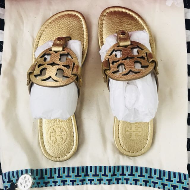 fbba4699e6d877 Tory Burch Miller-Tumbled Metallic Leather Sandals
