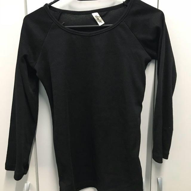 羅紋U領九分袖黑色上衣