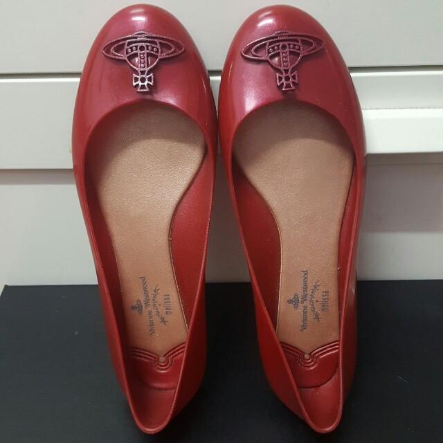 真品vivienne westwood紅色平底膠鞋