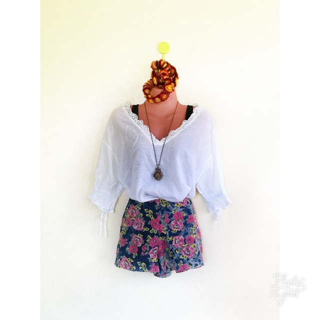 White Crop Top Bohemian Style (Medium)