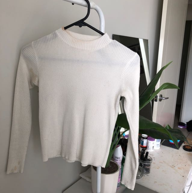 White high neck crop