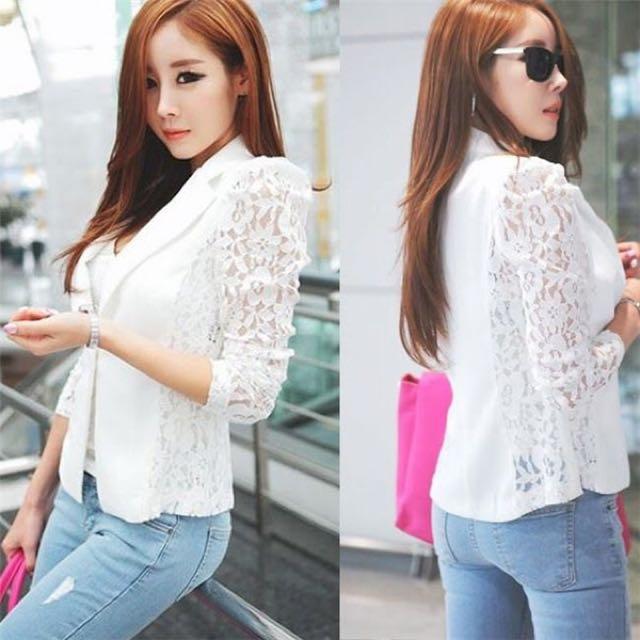 White Korean lace blazer