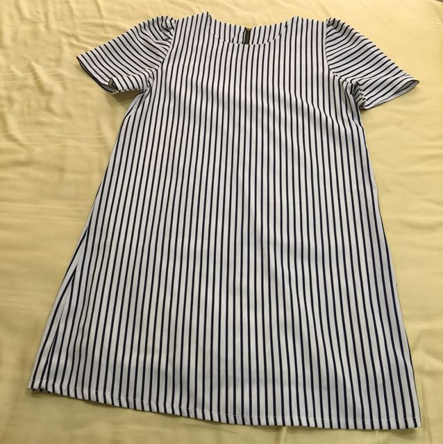 📮White Navy Stripes Shift Dress