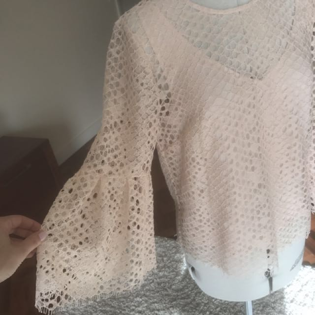WITCHERY Lace Shell Top