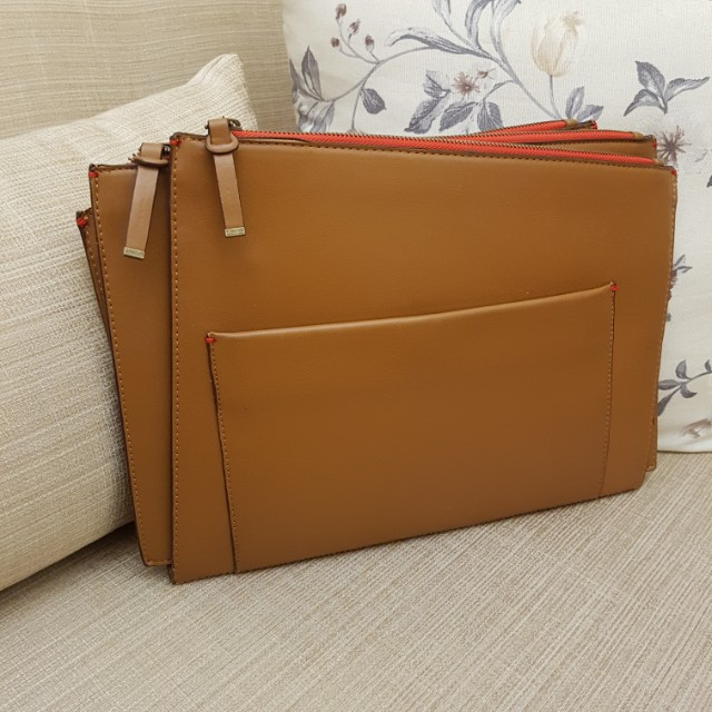 Zara clutch light brown