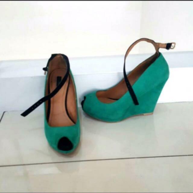 Zara Green Heels Size 36