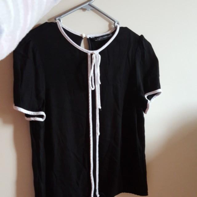 Zara tie-neck silk blouse
