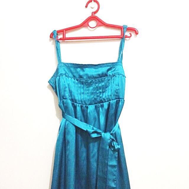 Zara TRF Metallic Blue Slip Dress