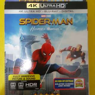 WTS Brand New 4k Spiderman Homecoming blu ray