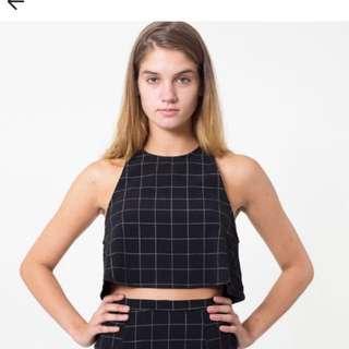 American apparel black and white grid lulu top MEDIUM