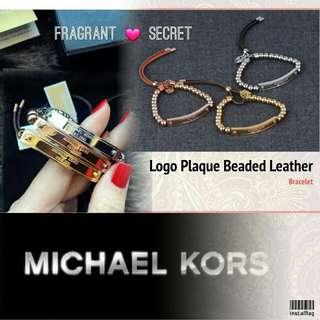 Michael Kors Logo Plaque Beaded Leather Bracelet Silder鋼牌串珠真皮手鍊