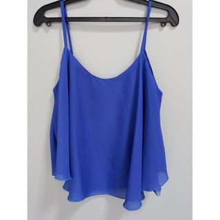 Blue Sleeveless Cropped Top