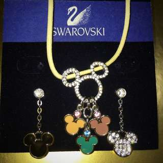 Swarovski Disney Mickey Necklace and Earring Set 迪士尼米奇水晶頸鍊耳環套裝 (100%全新)