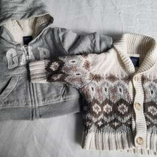 GAP 0-3 mth sweaters.Practically new Calling all winter babies.  Retails for $34.95 each from Baby GAP. pickup beaches, Yorkville or St.Andrews TTC STATION. Msg with preferred time and date.