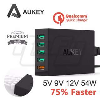 *Authentic* AUKEY 5 Port USB Wall Charger Power Supply 54W Qualcomm Quick Charge 3.0