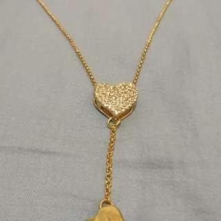 白色閃石心型金色頸鏈