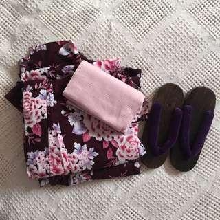 Japanese Yukata Set- Authentic Summer Kimono with Geta Sandals