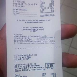 Sm cinema ticket 2D