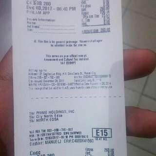 Sm cinema ticket/voucher