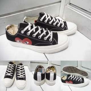 Sepatu Converse Allstar Chucktaylor CDG Play Love Low Canvas Black Hitam