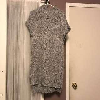 High-low wool sweater