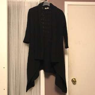 Black wool cardi