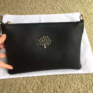 Black leather clutch new