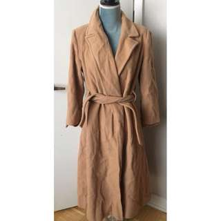 Long Camel Coat Size M