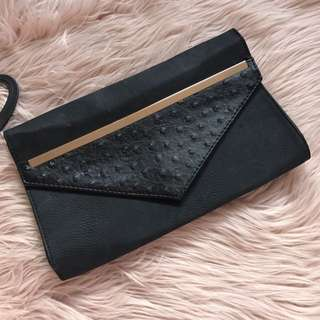Brand New Black Ostrich Envelope Clutch Bag