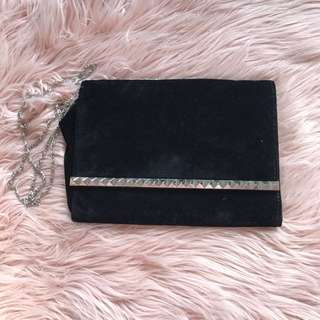Brand New Black Velvet Studded Clutch Bag
